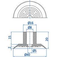 Вакуумная присоска ф40мм для упаковки из натуральной резины