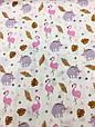 Муслин (хлопковая ткань) фламинго и слоники (ширина 1,2 м), фото 3