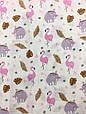 Муслин (хлопковая ткань) фламинго и слоники (ширина 1,2 м), фото 2