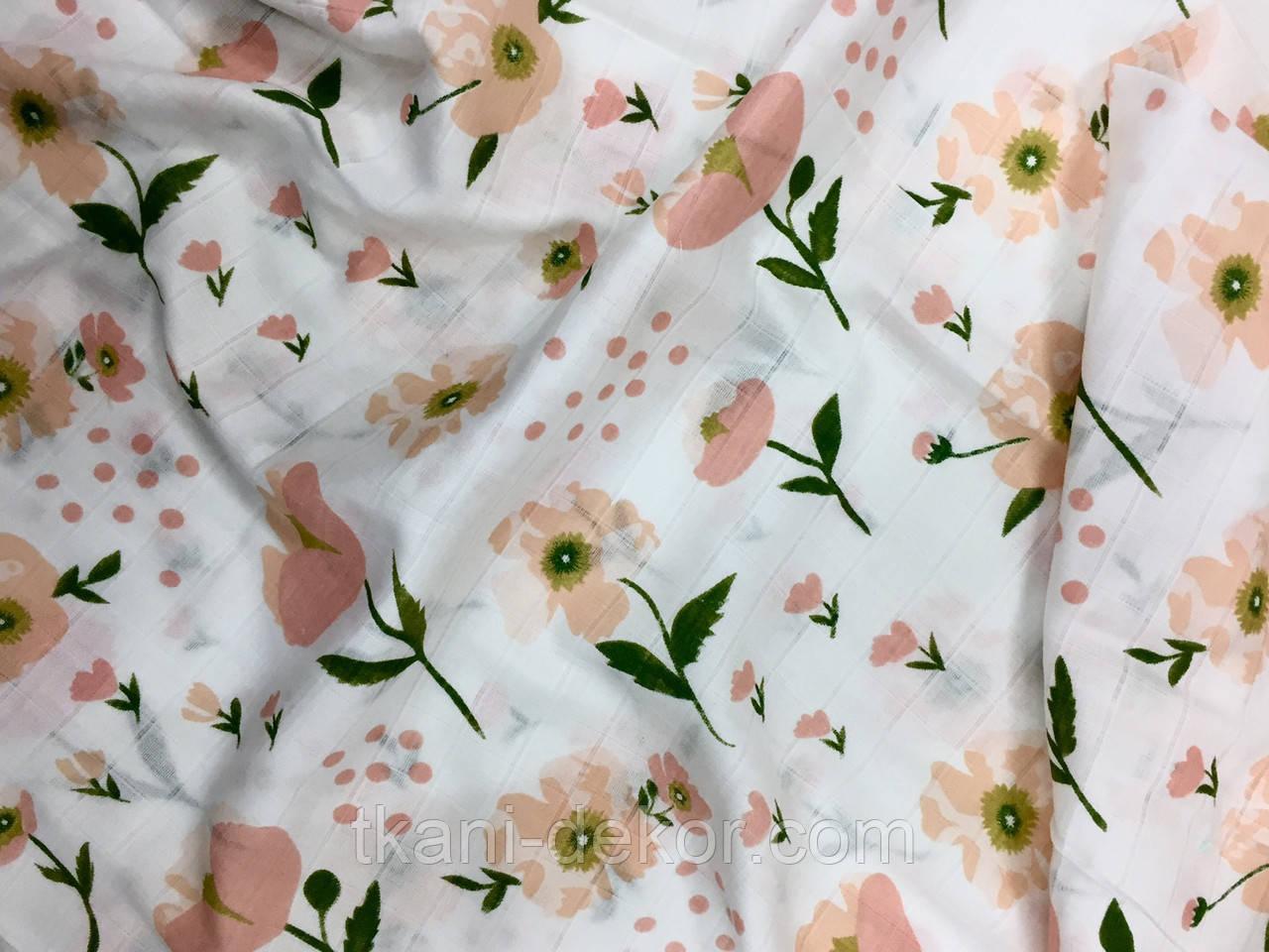 Муслин (хлопковая ткань) маки персиковые (ширина 1,2 м)