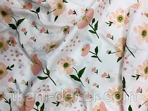 Муслін (бавовняна тканина) маки персикові (ширина 1,2 м)