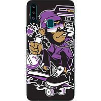 Чехол силиконовый с картинкой для Samsung A20s Galaxy A207F Стильная обезьяна
