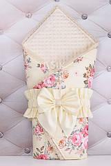 Плед-конверт из сатина молочного цвета с розами, отделка хлопковым кружевом, 80*85 см