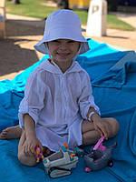 Детская пляжная туника белая хлопок для мальчика летняя туника для девочки