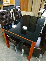 Стол обеден. Сан-Ремо 7 столешка черная/ноги бронза (Биформер)