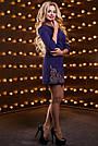 Платье синее нарядное короткое с вышивкой р. 48, мини, молодёжное, приталенное, фото 5