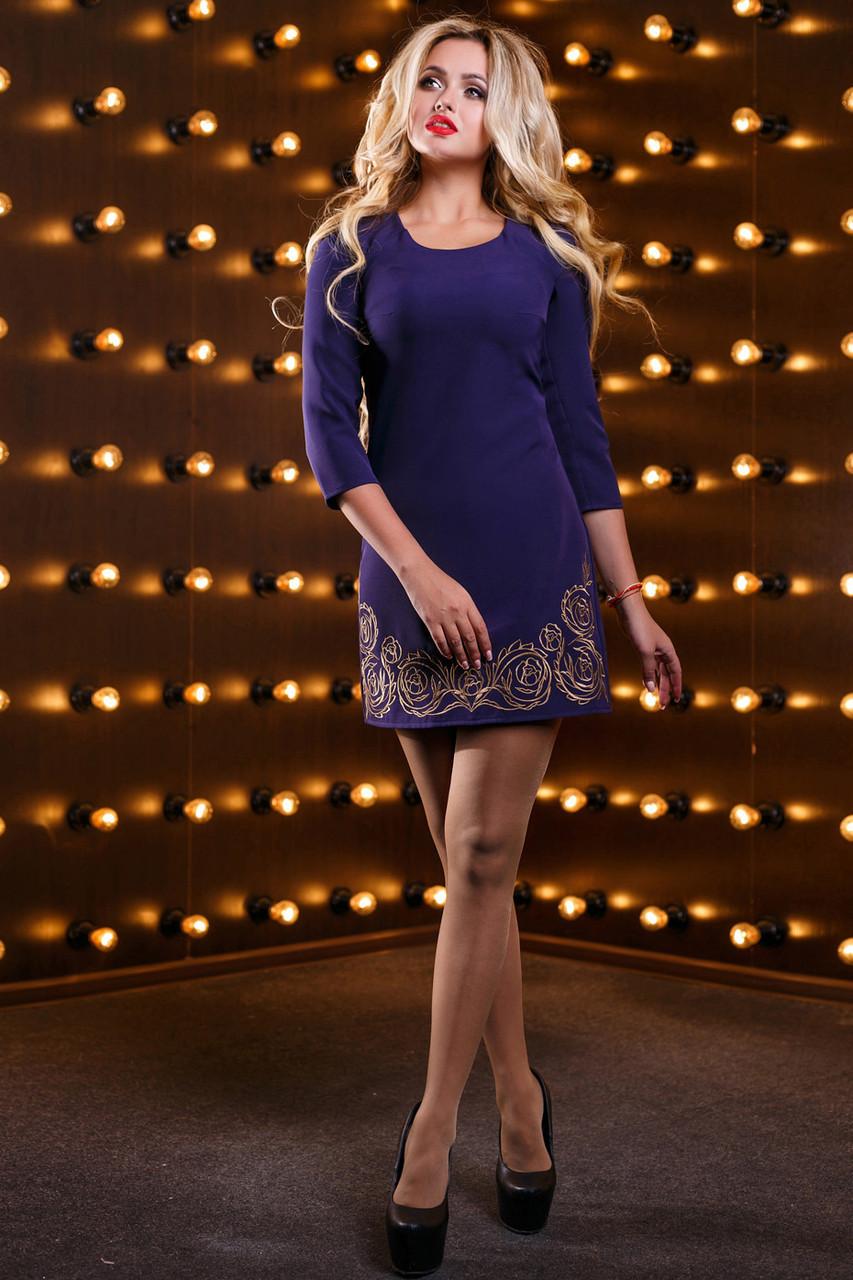 Платье синее нарядное короткое с вышивкой р. 48, мини, молодёжное, приталенное