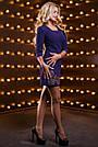 Платье синее нарядное короткое с вышивкой р. 48, мини, молодёжное, приталенное, фото 6