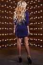 Платье синее нарядное короткое с вышивкой р. 48, мини, молодёжное, приталенное, фото 3
