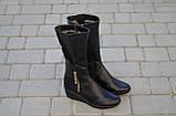 Женские сапоги на танкетке кожаные черные Karmen 144014. Женская обувь, фото 2