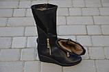 Женские сапоги на танкетке кожаные черные Karmen 144014. Женская обувь, фото 4