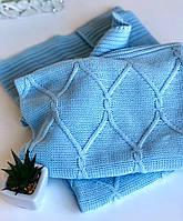 Плед вязанный для новорожденных Ромбы 100х90 в подарочной упаковке голубой