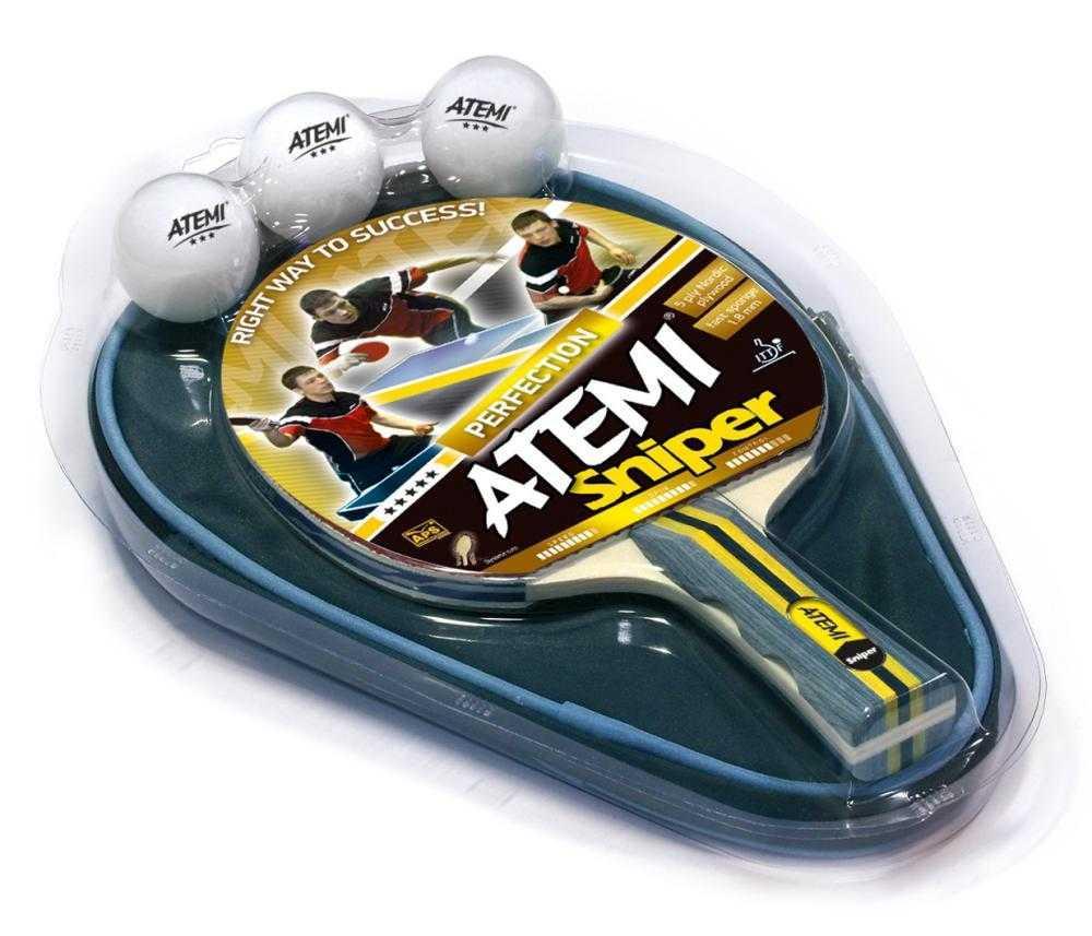 Набор для настольного тенниса ATEMI Sniper (1ракетка+чехол+3 мяча***)