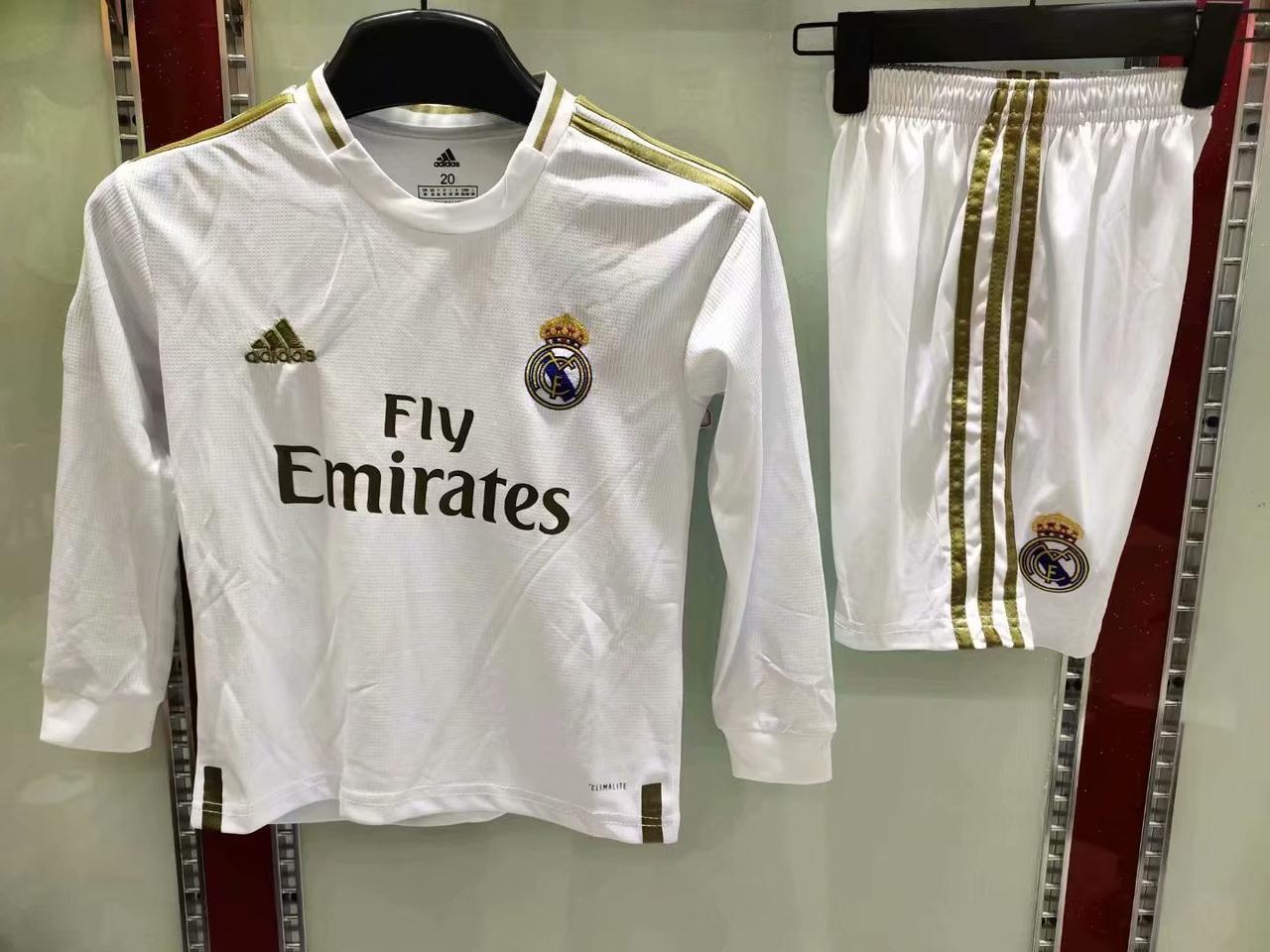 Детская футбольная форма Реал Мадрид Real Madrid с длинным рукавом домашняя 2019-20