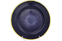 Сервірувальна тарілка, колір - синій з золотом, 33см 587-017, фото 1