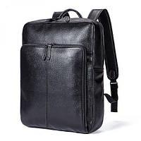 Мужской рюкзак Polo Vicuna городской для ноутбука из натуральной кожи черный