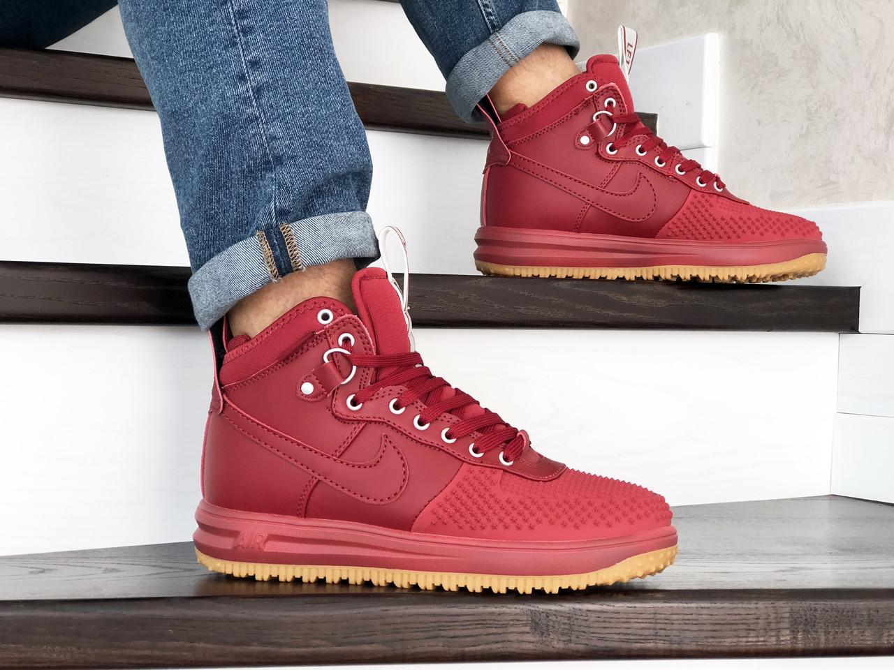 Високі чоловічі кросівки Nike Lunar Force 1 Duckboot червоні / чоловічі кросівки Найк (Топ репліка ААА+)