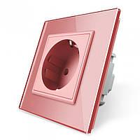 Розетка с заземлением Livolo 16А розовый стекло (VL-C7C1EU-17), фото 1