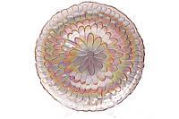 Сервировочная тарелка стеклянная, цвет - клубничный радужный, 33см  587-015