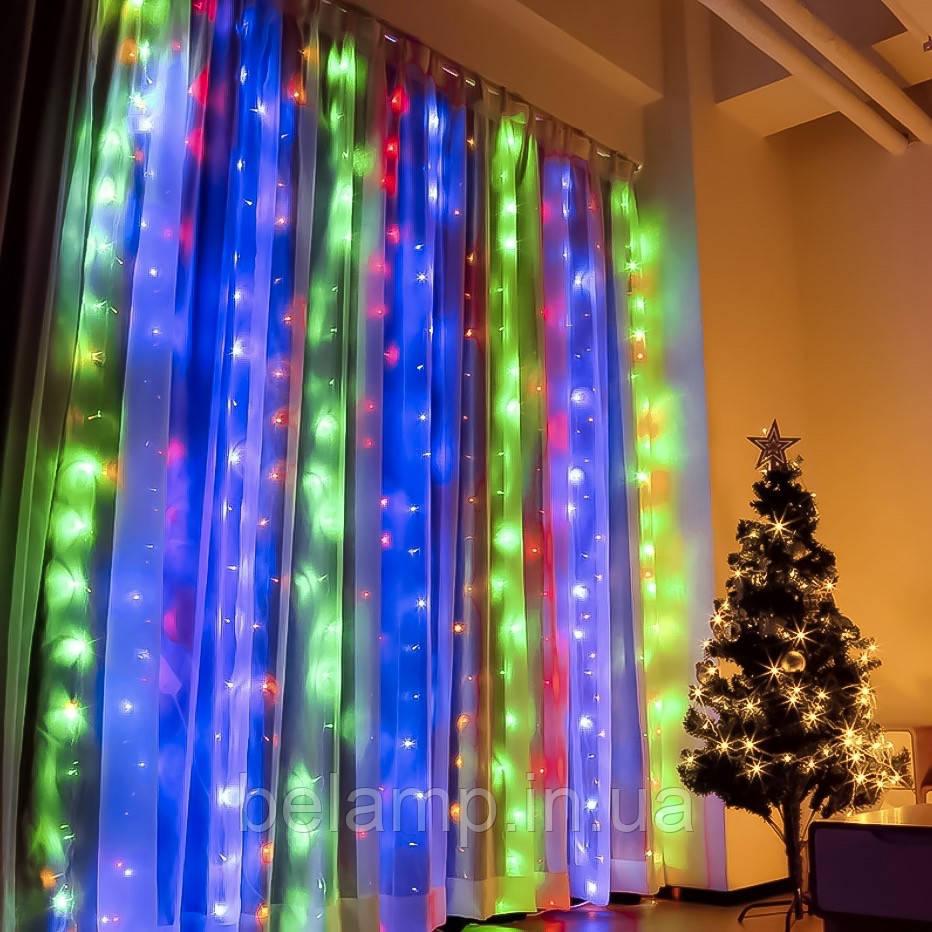 Новогодняя гирлянда Штора 3 метра на 3 метра. 300 LED