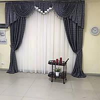 Готовые шторы блэкаут 150х270cm (2 шт) из шифона с ламбрекеном ALBO Черный (LS325-14), фото 1