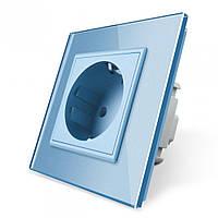 Розетка с заземлением Livolo 16А голубой стекло (VL-C7C1EU-19), фото 1