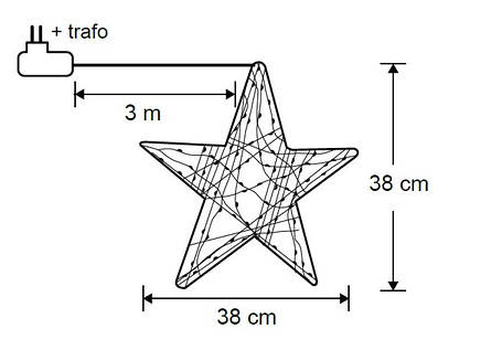"Звезда декоративная серебряная, диам. 38 см, 60 led, ""Luca Lighting"", фото 2"