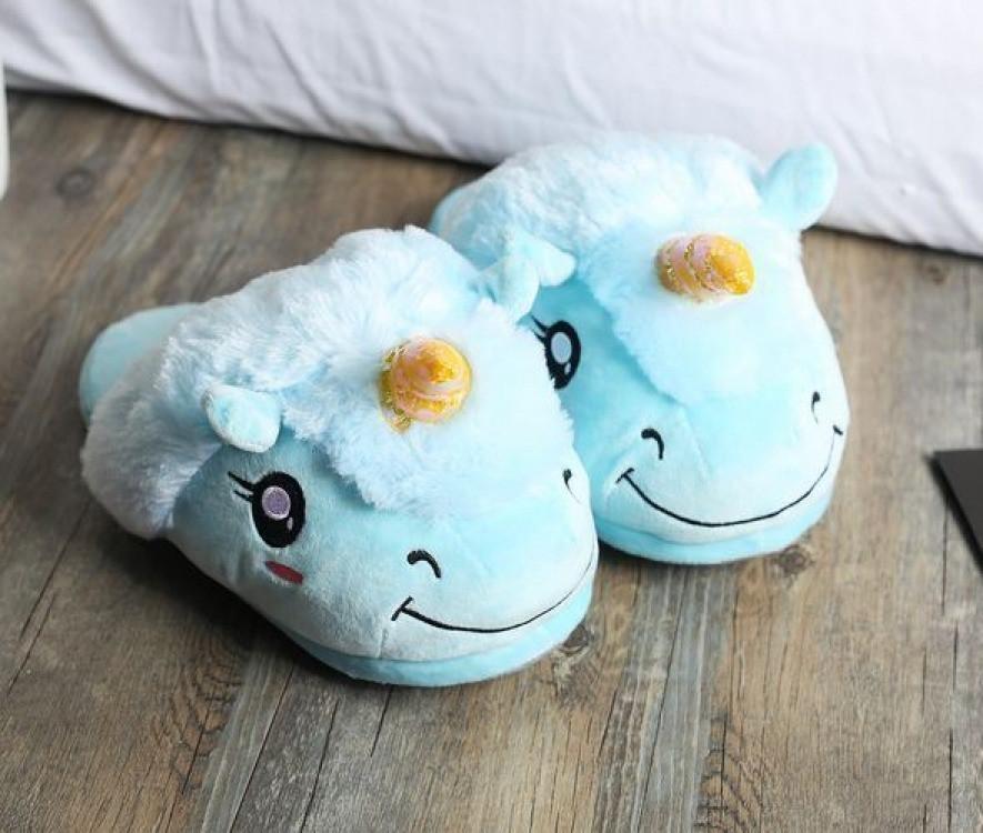 Плюшевые тапочки Единорог голубые (Универсальный размер )