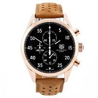 Наручные часы в стиле TAG Heuer Carrera 1887 SpaceX Chronograph Gold-Black-White
