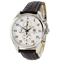 Наручные часы в стиле TAG Heuer Carrera 1887 SpaceX Chronograph Black-Silver-White