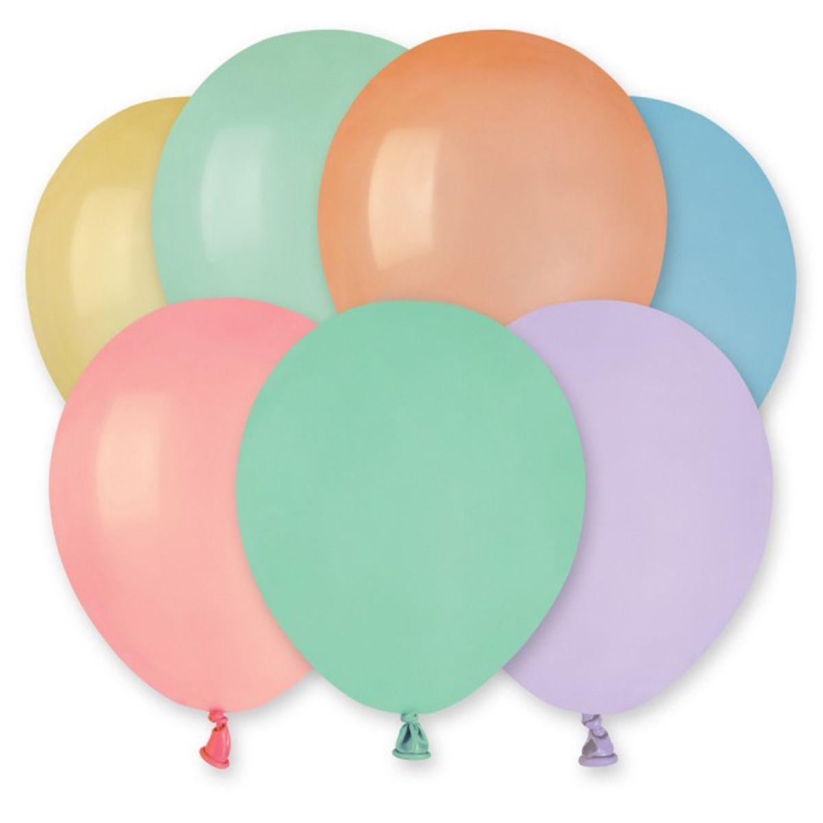"""Латексные шары круглые без рисунка И 5"""" пастель macaron ассорти"""