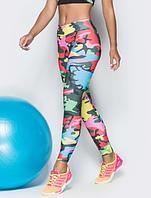Леггенсы для фитнеса леггинсы для спорта принт, модель 02