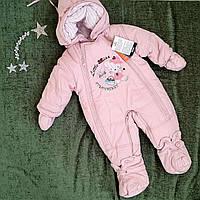 Детский комбинезон на овчине на девочку , размер 68,74, нежно-розовый