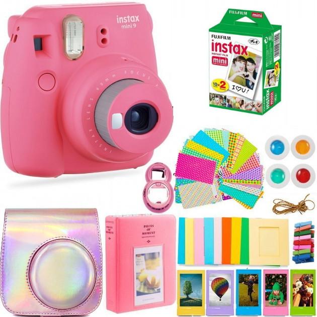 Набор: Камера моментальной печати Fujifilm Instax Mini 9, Чехол, Линзы, Рамки, Альбом, Стикеры + Пленка 20 сни