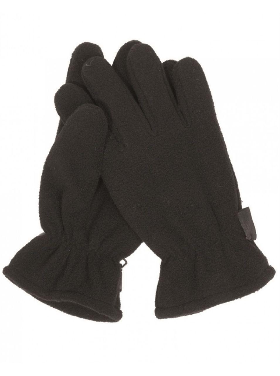 Зимние флисовые перчатки черные