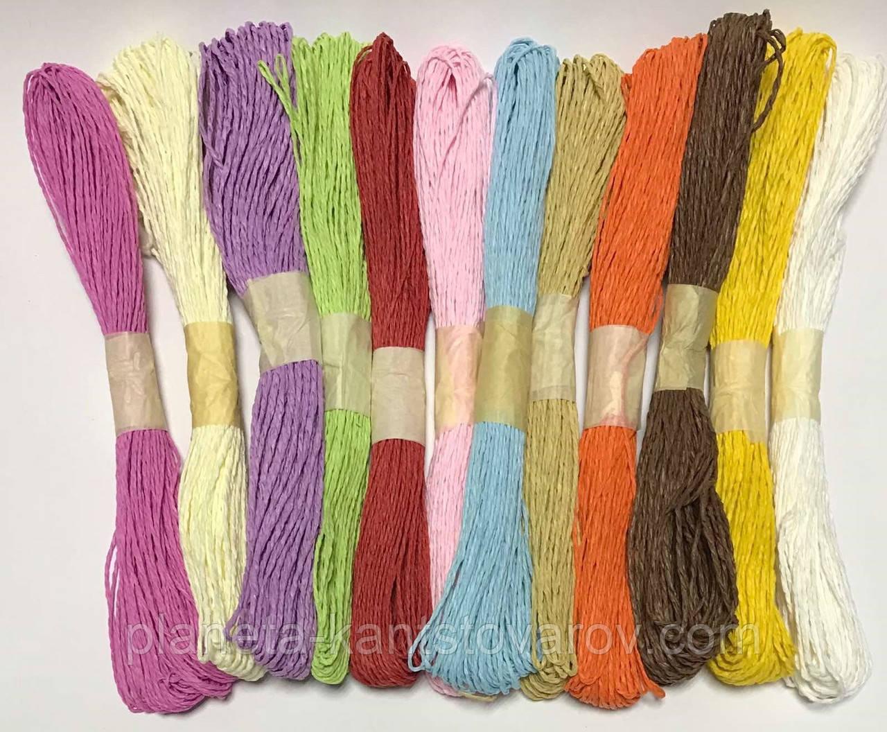 Шнуровка бумажная  12 цветов, 30 метров*12, D-1.5-2mm (цена за набор 12шт) 8174