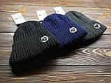 Шапка мужская брендовая темно-серая на флисе (реплика), фото 2