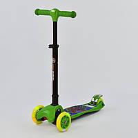 Самокат детский трехколесный Best Scooter Maxi, колёса PU со светом, складной руль с фарой зеленый