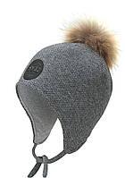 """Детская шапка """"Мехмед"""" на завязках с натуральным помпоном"""