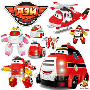 Рэй и пожарный патруль - 4 героя трансформера в комплекте: Рэй, Эмби, Хеликс и Памп, Рей пожарная машинка