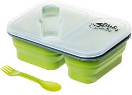 Контейнер пищевой складной + ложка-вилка Tramp TRC-090 (0,9л, два отсека), оливковый