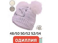 """Детская шапка """"Одиллия"""" без завязок с натуральными помпонами"""