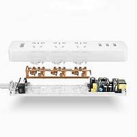 Удлинитель Mi Power Strip (3 розетки + 3 USB) 27W Fast Charge NRB4049CN, фото 3