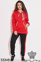Спортивный женский костюм красный с капюшоном (размеры от 50 до 60)