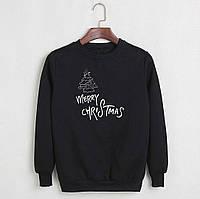 Новогодний свитшот унисекс теплый с флисом черный Merry Christmas