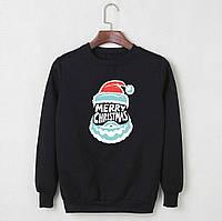 Новогодний свитшот теплый с флисом черный Дед Мороз