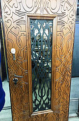 Двері вхідні Ріана зі склом і ковкою серії Комфорт ТМ Каскад