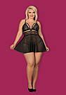 Пеньюар большого размера черный Obsessive 838 XXL (50-52), фото 3