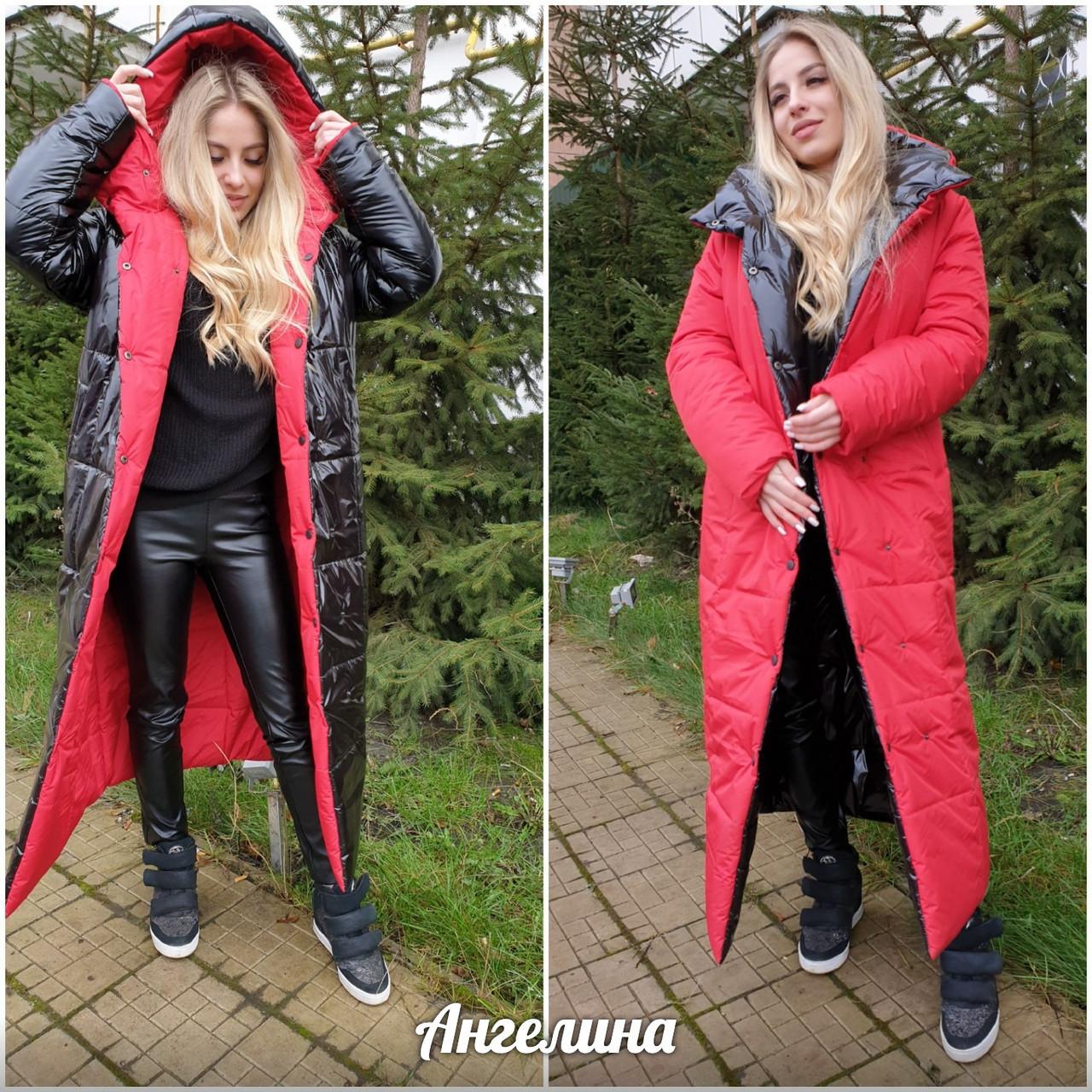 Длинное двухстороннее зимнее пальто на кнопках с капюшоном tez3701212