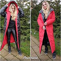 Длинное двухстороннее зимнее пальто на кнопках с капюшоном tez3701212, фото 1